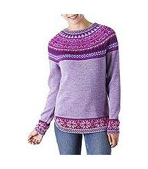 100% alpaca sweater, 'soft lavender' (peru)