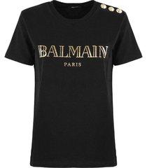 balmain black and gold cotton t-shirt