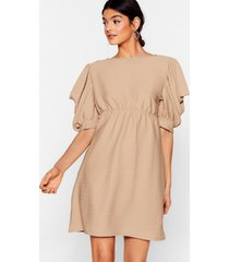 womens texture from your ex puff sleeve mini dress - camel