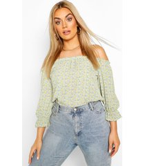 plus floral off the shoulder bardot top, mint