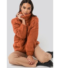na-kd trend wool blend high neck heavy cable knitted sweater - copper