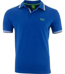 hugo boss men's short sleeve modern fit 100% cotton polo shirt blue
