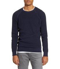 men's benson textured sweater, size large - blue