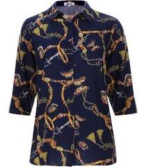 camisa 3/4 cadenas color azul, talla 16