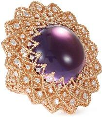 'roman barocco' diamond amethyst 18k rose gold ring