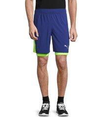 puma men's run favorite 2-in-1 running shorts - blue - size s