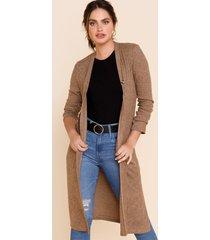women's mariette long knit cardigan in brown by francesca's - size: l