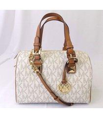 new michael kors grayson medium chain leather satchel handbag bag vanilla