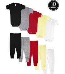 kit 10pçs body culote zupt baby enxoval preto/vermelho/amarelo