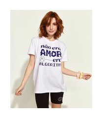 "t-shirt feminina mindset obvious não era amor"" manga curta decote redondo branca"""