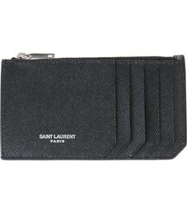 saint laurent card holder with zip and logo