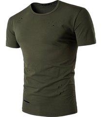 hombres tops casual manga corta tops hombre hombres agujero slim camiseta