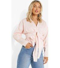 geplooide blouse met ceintuur, peach