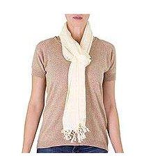 cotton scarf, 'sweet femininity in vanilla' (nicaragua)