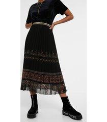 boho pleated midi-skirt - black - xl