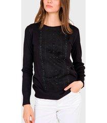 sweater  ash aplicaciones en gamuza negro - calce regular