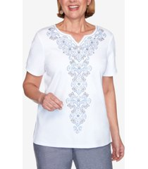 alfred dunner medallion center embroidered short sleeve knit top
