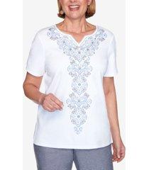 alfred dunner women's missy bella vista medallion center embroidery top