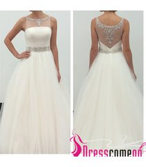2015 simple ball gown scoop tulle white wedding dress princess beach bridal gown