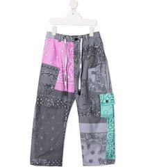 duoltd bandana-print cargo trousers - grey