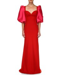 badgley mischka collection odessa balloon sleeve gown, size 8 in red fuchsia at nordstrom