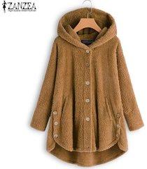 zanzea botones para mujer abrigos de polar de manga larga sudaderas con capucha cálidas para mujer -amarillo