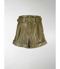 self-portrait faux-leather belted shorts