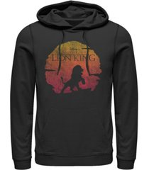 disney men's lion king vintage inspired sunset logo, pullover hoodie