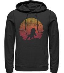 disney men's lion king vintage inspired sunset logo, pullover hoodie