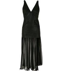 andrea bogosian leather midi dress - black