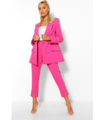 getailleerde skinny broek met split, warm roze