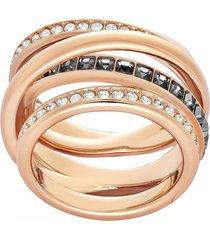anillo dynamic, gris, baño de oro rosa