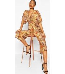 tall leopard and snake print jumpsuit, orange