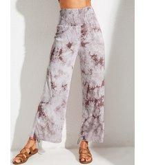 pantalones de talle alto fruncidos con efecto tie dye coffee de yoins