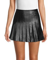70/21 women's faux leather pleated skirt - black - size m