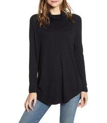 women's caslon turtleneck tunic sweater, size x-large - black