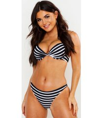 paphos mix & match nautical push up plunge bikini top, black