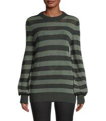 akris punto women's striped mesh-knit wool sweater - green multi - size 4