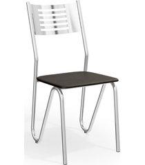 conjunto 4 cadeira napoles cromada de metal preto kappesberg