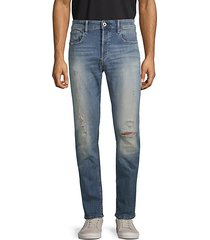 3301 slim distressed button-fly jeans