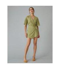 amaro feminino macaquinho de linho com saia transpassada, verde