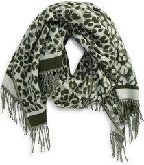 women's ted baker london leopard scarf, size one size - green
