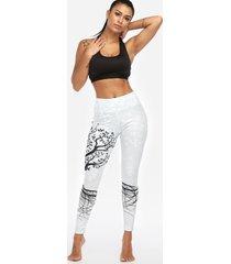 leggings de cintura alta de secado rápido con estampado floral aleatorio activo en blanco