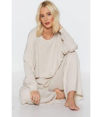womens ribbed lounge sweatshirt with crew neckline - stone