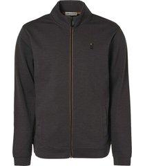no excess sweater full zip double face melang dark grey