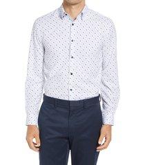 men's big & tall w.r.k trim fit performance dress shirt, size 18 - white