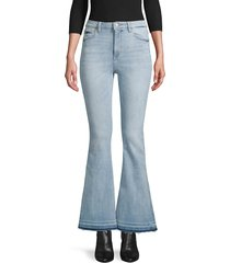 dl1961 premium denim women's rachel high-rise released-hem flare jeans - topanga - size 28 (4-6)