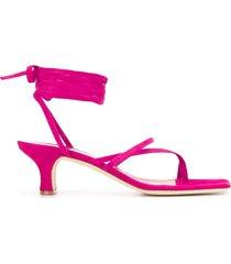 paris texas wrap tie low sandals - pink