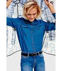 blusa tommy hilfiger joli azul - calce regular