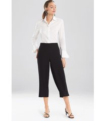 natori solid crepe wide leg crop pants, women's, size xs